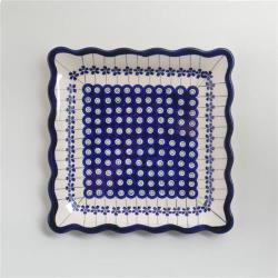 波蘭陶 藏青小卉系列 方形餐盤 24cm 波蘭手工製