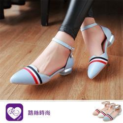 【iRurus 路絲時尚】歐美時尚紅藍緞帶扣環尖頭低跟包鞋/3色/35-43碼 (RX0604-7364-8-1) 零碼促銷