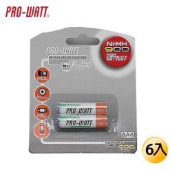 PRO-WATT 華志鎳氫充電池 4號6入 (PW-AAA900)