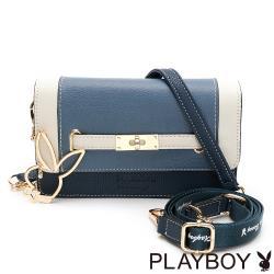 PLAYBOY-  斜背包-附寬背帶 摩登都市系列 -藍色