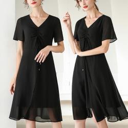 麗質達人 - 23342黑色雪紡洋裝