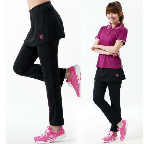 【遊遍天下】MIT女款吸排彈力假兩件長褲(瑜珈/運動/健身/路跑)GP1015黑色