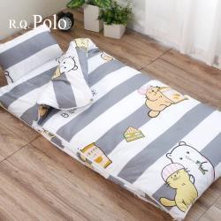 R.Q.POLO 絲棉柔兒童睡袋 冬夏兩用鋪棉書包睡袋4.5X5尺(吃貨貓咪)