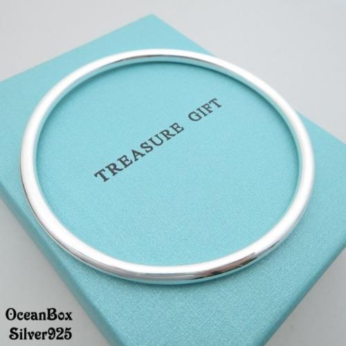 【海洋盒子】寬度4mm。20g亮面素面999純銀手環手鐲.閉口式手環.附贈禮盒