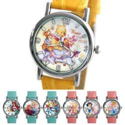 Disney 迪士尼 公主系列與可愛小熊維尼亮彩壓紋皮帶錶