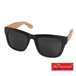 【Docomo新型平光造型太陽眼鏡】黑色框體搭載木紋色鏡腳 PC抗紫外線鏡片 精心打造獨具特色款式 抗UV400