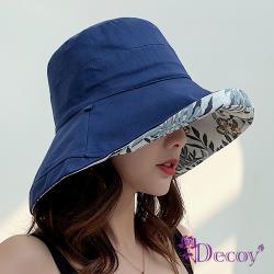 【Decoy】夏季扶桑花*雙面加大防曬漁夫遮陽帽/藍