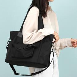 Acorn*橡果-韓系大容量防水包斜背包側肩包手提包托特包購物包6590(黑色)