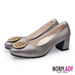 【Normlady 諾蕾蒂】璀璨星綴鑽飾圓釦磁石足弓支撐中跟鞋-MIT手工鞋(銀河灰)