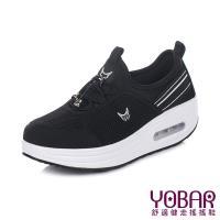 【YOBAR】舒適網布拼接彈力萊卡抽繩束帶休閒美腿搖搖鞋 黑