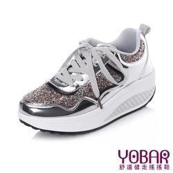 【YOBAR】金屬質感閃耀亮片拼接時尚美腿搖搖鞋 銀