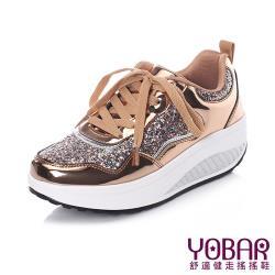 【YOBAR】金屬質感閃耀亮片拼接時尚美腿搖搖鞋 金