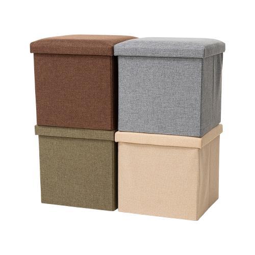 簡約可折疊棉麻收納凳/穿鞋椅/收納箱 25x25CM 兩入組