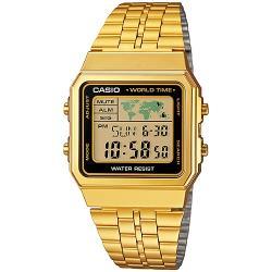 CASIO卡西歐 復古方塊世界休閒全金電子錶-黑框(A500WGA-1D)