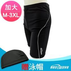 Heatwave熱浪 加大男泳褲 七分馬褲-黑洋流(M-3XL)贈泳帽410