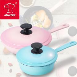 【夢幻單柄煎鍋2件組】MULTEE摩堤 鑄鐵單柄煎鍋(晶鑽色)16cm+20cm