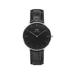 【Daniel Wellington】經典黑色壓紋皮革腕錶-銀框/36mm(DW00100147)