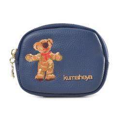 kuma heya -真皮牛皮刺繡貝殼手拿零錢包 -藍
