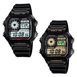 CASIO 卡西歐 AE-1200WH 低調方形款世界地圖多時區顯示電子膠錶