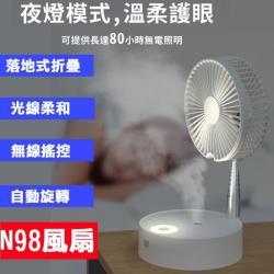 N98 折疊式USB風扇  伸縮折疊 充電風扇 夜燈模式 加濕器
