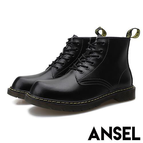 【Ansel】真皮經典六孔個性粗跟時尚馬丁短靴