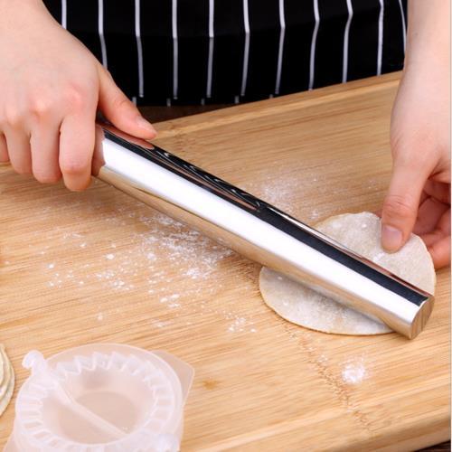 PUSH!廚房用品316不銹鋼擀麵杖麵粉棍擀面棍擀餃子皮擀面棒D180-1