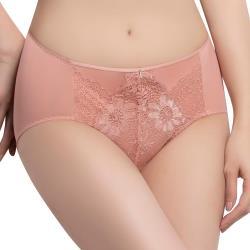 思薇爾 撩波無拘束之花系列M-3XL蕾絲中腰三角內褲(萩金膚)