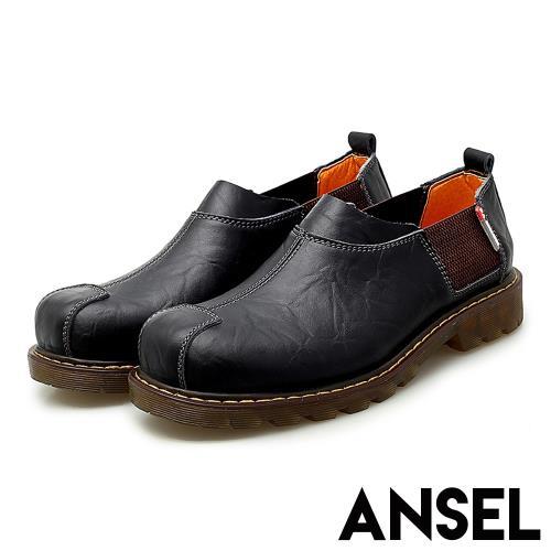 【Ansel】真皮頭層牛皮自然折紋彈力織帶拼接個性休閒鞋