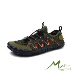 【MINE】時尚流線撞色繫帶透氣排水戶外休閒溯溪鞋 軍綠