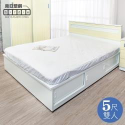 Birdie南亞塑鋼-5尺雙人加高型六拉門塑鋼床組(床頭片+加高推門收納床底)(黃橡木色)