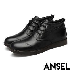 【Ansel】真皮頭層牛皮質感格線壓紋百搭繫帶紳士鞋 黑