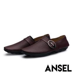 【Ansel】真皮頭層牛皮個性釦飾拼接舒適軟底懶人鞋 咖