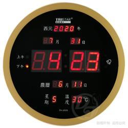 TRISTAR 仿木圓形插電式12/24H電子萬年曆鐘 TS-A3131