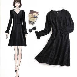 麗質達人 - 11036黑色拼接洋裝