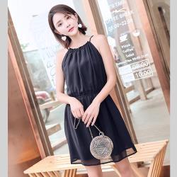 【名模天后】優雅素色修身無袖造型洋裝-(M~2XL)
