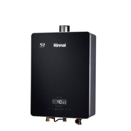 (全省安裝)林內16公升數位恆溫強制排氣黑色玻璃前板熱水器RUA-C1628WF_NG2