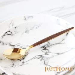 Just Home洛娜304不鏽鋼鍍鈦木紋柄餐匙(4件組) 西餐匙/湯匙