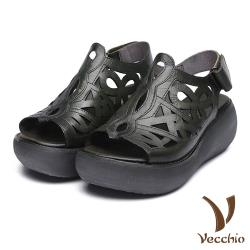 【Vecchio】全真皮典雅厚底縷空線條復古涼鞋 墨綠