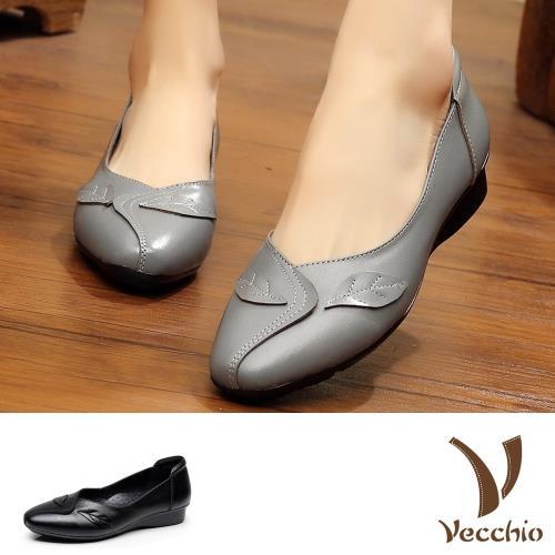 【Vecchio】真皮頭層牛皮葉片造型手工車線低跟單鞋(4色任選)/