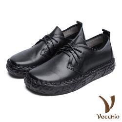【Vecchio】真皮頭層牛皮手工縫線復古經典厚底牛津鞋 黑