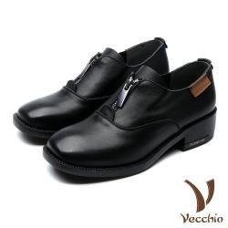 【Vecchio】全真皮頭層牛皮時尚拉鍊造型小方頭粗跟休閒鞋 黑