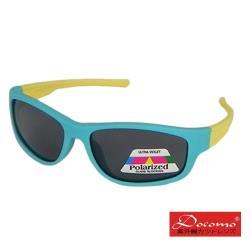 【Docomo橡膠兒童偏光太陽眼鏡】帥氣水藍色框體設計 抗UV400專用 頂級橡膠材質 坐踩壓不怕壞 偏光鏡片