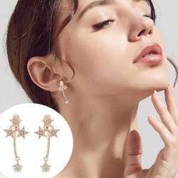 梨花HaNA  韓國925銀美麗星光指引.銀針耳環