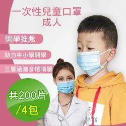 CS22 兒童/成人三層防護口罩-50入包裝x4包(藍/白色隨機出貨)