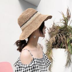 【Emi艾迷】韓國優雅氣質飄飄清爽百搭拉菲草遮陽帽草帽