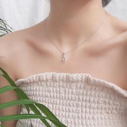 【Emi艾迷】韓系水滴彎月純淨鋯石鎖骨鍊項鍊