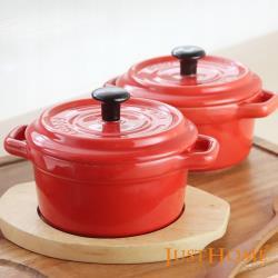 Just Home櫻桃紅造型陶瓷附蓋烤皿附台灣製木托盤(3件組)焗烤盅/布丁盅/甜品盅/輕食盅