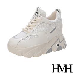 【HMH】個性夜光條復古網布拼接厚底內增高時尚老爹鞋 米