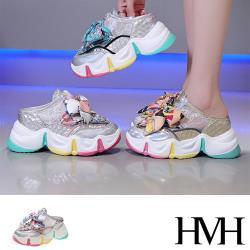 【HMH】潮流百搭珍珠緞帶網紗拼接復古厚底內增高運動風包頭拖鞋(3色任選)