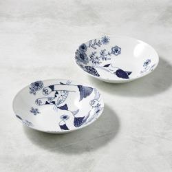 有種創意 - 日本美濃燒-花園藍貓大圓盤-禮盒組(2件式)